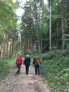 three people walking in the woods