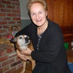 old dog with woman