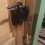 old fashioned door lock with large key