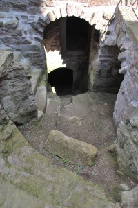 A walkway leading into one of the cellars at the castle ruin Hanstein.