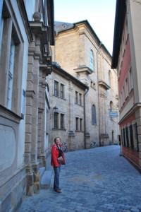 Woman standing in street in Germany