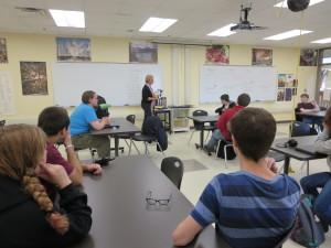 school visit annette oppenlander presenting at high school