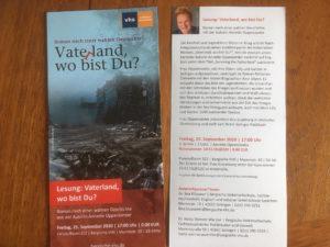 flyer für eine Lesung von Vaterland, wo bist Du?