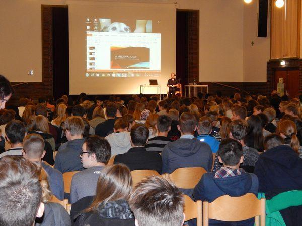 auditorium with high school kids