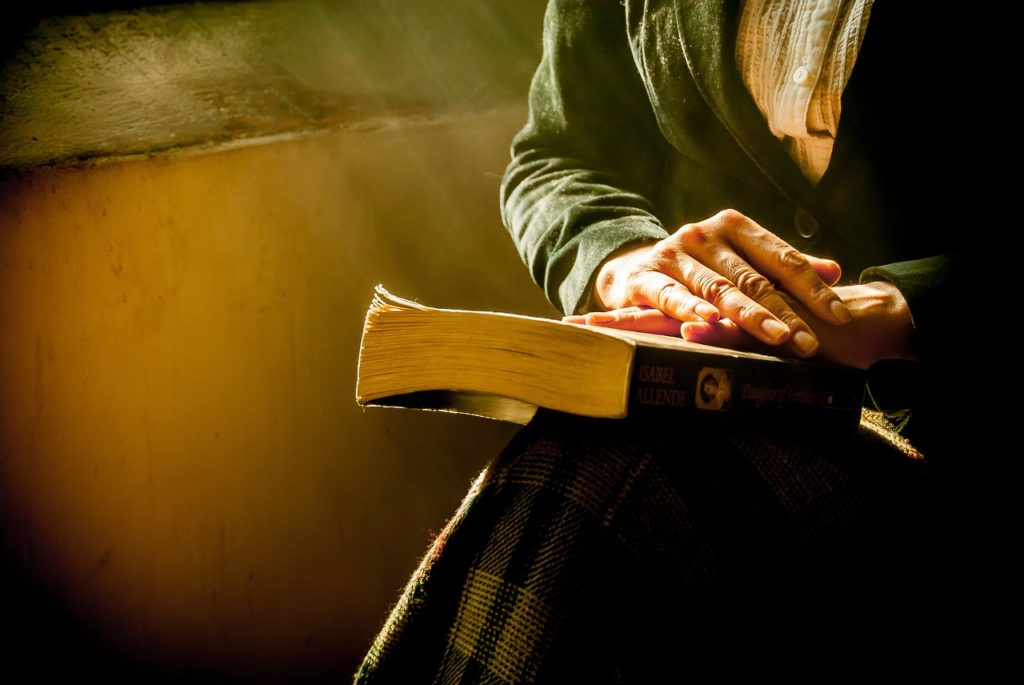 book, woman, hands