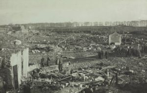 landscape with rubble after bombing